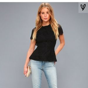 Lulus Locklyn Black Lace Top